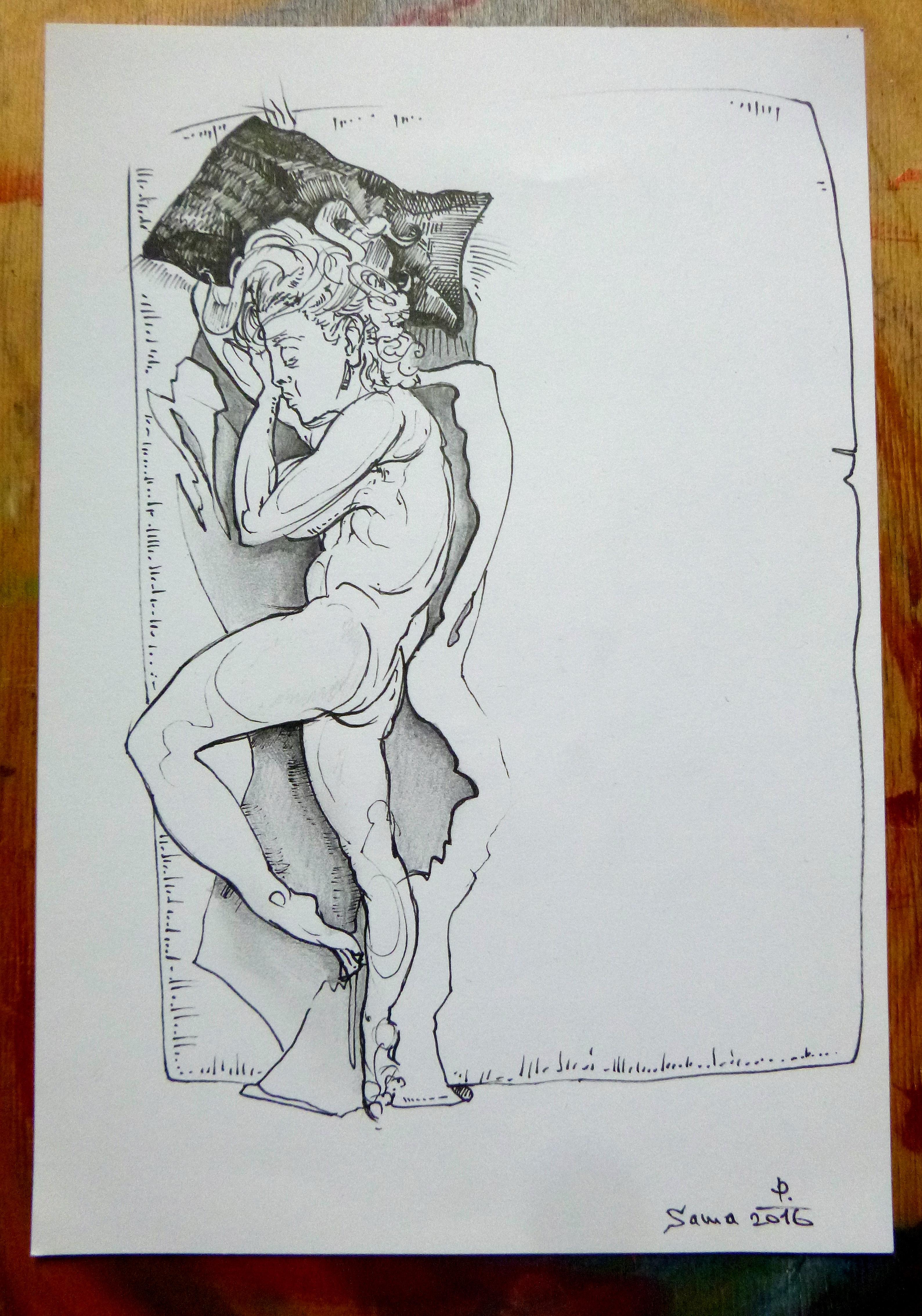 Kresba - spící žena