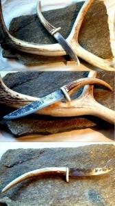2017 Kovaný nůž, nožířská ocel, jelení paroh, kost býka, 25 cm
