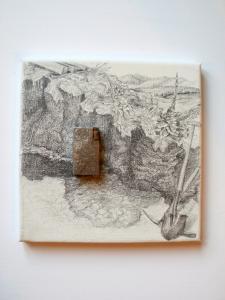 2011 Benzíňák  tuška na plátně  nález ručně rytého  stříbrného zapalovače 20 x 20 cm