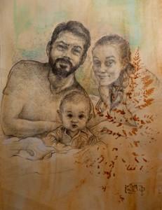 2019, J,M,Š, tužka na papíře 30 x 40 cm
