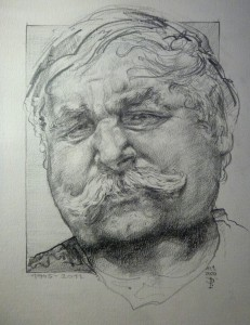 2020, Portrét málíře a grafika Miroslava Bravence, tužka na papíře, 20 x 30 cm