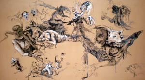 2011 poker  kresba a malba tuší akrylem na knihařské plátno 150 x 85cm
