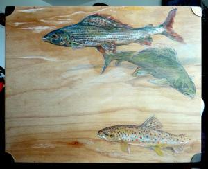 2013 Muškařský kufr, akryl na dřevě 65 x 45 cm