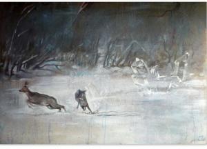 2015 Odskok, akryl a tužka na sololitu 100 x 70 cm
