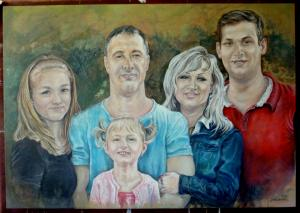 2015 pětiportrét akryl na plátně 100 x 70 cm