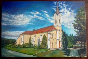 2016 Kostel sv Václava, v Přísnoticích akryl na plátně 60 x 40 cm