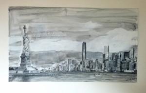 2017 NY 90 x 50, akryl na sololitu