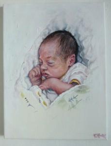 2019, Novorozenec, akryl na plátně, 30 x 40 cm