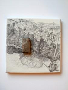 2010 Benzíňák, Kresba na plátně a nález stříbrného, ručně - rytého zapalovače z období 2. světové války, 25 x 25 cm